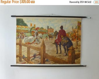 ON SALE 25% OFF Knights in Armour School Chart - Jousting Medieval Times Pull Down Chart -  Romantic Renaissance Vintage 1960s Wall Decor