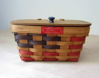 Vintage Patriotic basket.  American Celebration Red and Blue basket