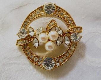 Vintage Monet Brooch, Rhinestone and Pearl Circle Pin, Original Box, 1980s Monet Jewelry