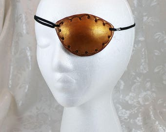 Leather Eye Patch, Golden Brown Bronze Tooled Leather Pirate Eye Patch