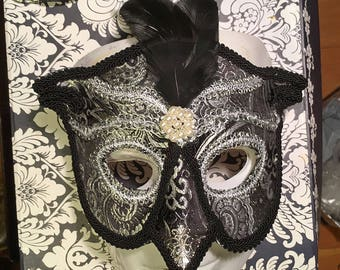 Black Silver Owl Masquerade Mask, MADE TO ORDER Black and Silver Brocade Over Leather Owl Masquerade Mask, Owl Masquerade Ball Mask