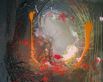 Protecting Her - Original Collage and Abstract Acryllic painting on canvas