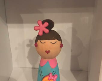 Kawaii Wooden Kokeshi Little Ms. Pop C. Kull