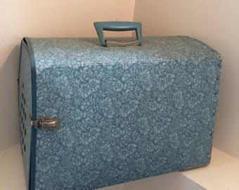 Vintage Blue Floral Cat Pet Carrier Crate with Plastic Handle