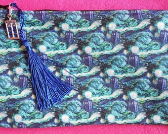 Doctor Who inspired Tardis and Starry Night zipped pouch
