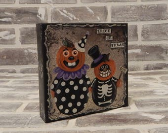Halloween Mixed Media Canvas..Trick or Treat..Jack-O-Lanterns..Halloween Art..Mixed Media Art..Original Mixed Media..Whimsical Art