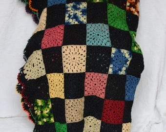 Vintage Handmade Crochet Multi Colored Granny Square Style Afghan, Throw, Blanket