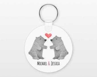 Grizzly Bear Keychain, Couple Keychain Personalized Keychain, Girlfriend Keychain Boyfriend Keychain, Animal Keychain, Key Chain, Keyring