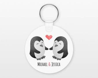 Penguin Keychain, Couple Keychain Personalized Keychain, Boyfriend Keychain Girlfriend Keychain, Couple Key Chain, Animal Keychain, Keyring