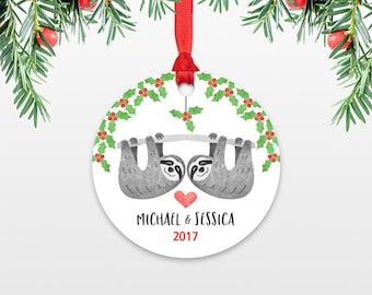 Personalized Christmas Ornament Sloth Couple Wedding Christmas Ornaments Engagement Ornament Married Engaged Ornament Christmas Decoration