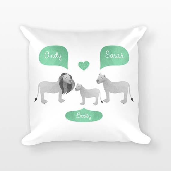 Lion Nursery Pillow, Personalized Baby Gift, Baby Shower Gift, Safari Nursery Decor, Pillow for Kids Room Decor, Animal Nursery Throw Pillow
