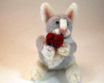 Needle felted bunny/Valentine bunny/Valentine gift/Valentine rabbit/needle felted rabbit/grey white bunny/gray white rabbit/wool bunny