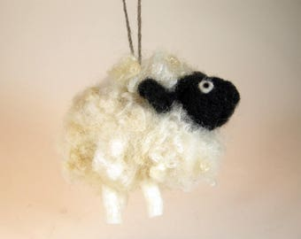 Sheep ornament/needle felted sheep/hanging sheep ornament/curly wool sheep/black and white sheep/sheep decoration/cute sheep ornament