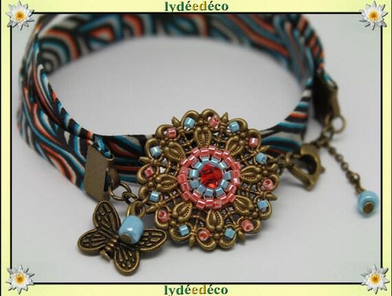 Bracelet ethnic print liberty Fleur orange African turquoise beads black Japanese Glass Butterfly brass bronze