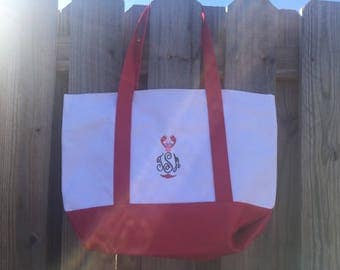 Monogrammed Zippered Boat Tote