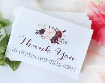 Set of 12 Wedding Vendor Thank You Cards and Envelopes - white linen card stock