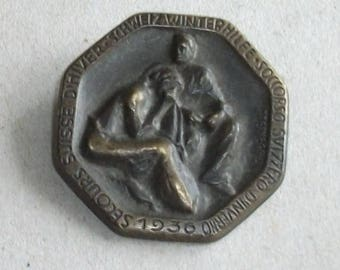 Vintage. Charity icon Switzerland 1936 year. Original.