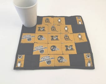 University of MO, MU Fabric, Mo Mini Quilt, Coaster, Mug Rug, Candle Mat, Missouri Tigers, Mizzou