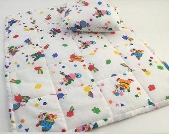 Circus Doll Quilt, Quilt and Pillow, Rainbow Quilt, 18 in Doll Quilt, Primary Colors