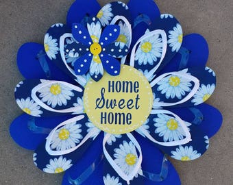 "CUTE Daisy ""Home Sweet Home"" Flip Flop Wreath Wall Door Decor Beach Ocean Unique Gift"