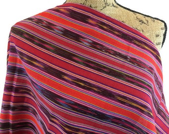Ethnic Woven Fabric--Guatemalan Fabric--South American Fabric--Ethnic Style Fabric--Handwoven-Red Striped Fabric--Fabric by the HALF YARD