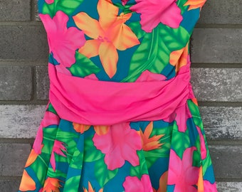 80s rare neon tropical floral one piece skirted bathing suit