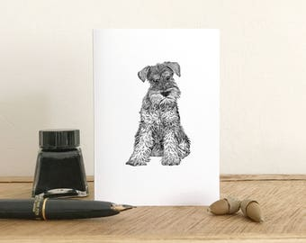 Schnauzer Greeting Card - Blank card - Fine Art Giclee card - Birthday card - Thank you card - Note card
