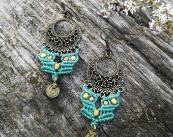 Turquoise Gypsy boho macrame earrings. Handmade tribal jewerly by Bella Marietta