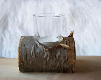 Tree Branch Log Candle Holder