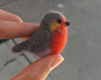 Miniature Felted Cute Robin bird