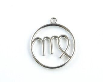 Virgo Pendant, Large Virgo Charm, Silver Zodiac Pendant (206S)
