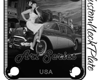 Black Engraved 57 Chevy Pinup Guitar Neck Plate Fender tele/strat/squier