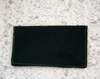 Black Checkbook Cover, Cash Envelope, Shamrock Interior, Cash Wallet, Fabric Checkbook
