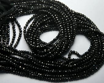 2500 Pcs,BLACK SPINEL Machine Cut Quality,Finest Quality Micro Faceted Rondelles,3mm