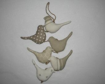 Garland of birds, taupe/ecru/beige vertical Garland, wall decor, bird hanging, Christmas gift