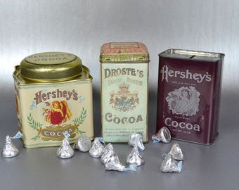 Trio of Vintage Cocoa Tins, 3 Chocolate Advertising Tins, Three Metal Cocoa Containers, Hersheys Cocoa Bank, Old Droste's Cocoa Holland