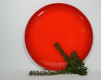 Vintage Waechtersbach Bright Red Cake Plate, West Germany Round 12-inch Platter, Serving Plate for Cake & Cookies, Round Red Serving Tray