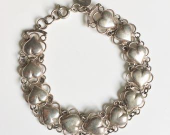 vintage heart link sterling bracelet