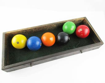 six u0027made in italyu0027 balls six vintage ball set bocce balls - Bocce Set