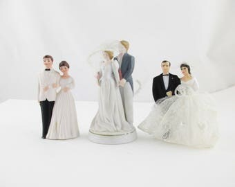 CHOICE - 1980s Wedding Cake Topper - Bride and Groom - '80s Glamour - Blondes or Brunettes - White Tux - Grey Tails - Black Tux