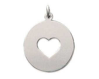 Pendant engraved medal round 22 mm hole heart Silver 925/000