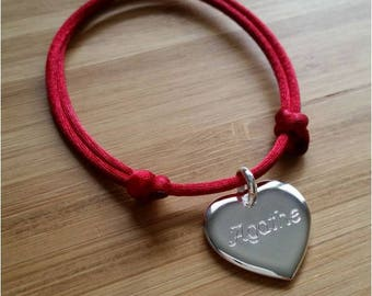Personalized Bracelet engraved heart engraved silver 925/000 cord