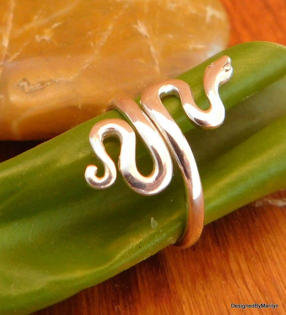 Sterling silver snake ring, adjustable ring, pet jewelry, carnivorous reptiles, legless lizard