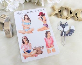 Beach Day Fashion Girls, Planner Stickers