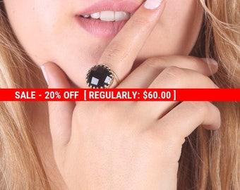 SALE 20% OFF Onyx Ring, Black Onyx Ring, Gold ring, Black Onyx Gemstone Ring, Onyx Jewelry, Stone ring - 21044
