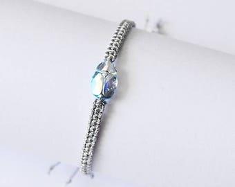 Christmasinjuly Aquamaryn ABx2 Swarovsky Scarab Bracelet Crystal Bracelet Friendship Bracelets Woven bracelet Silver Metallic twine minimali