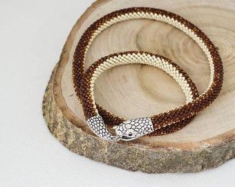 Christmasinjuly Snake necklace Crochet wilde safari style Everyday Necklace snake skin jewelry snake skin necklace beads necklace snake jewe