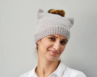 Christmasinjuly Gray Pussyhat Hole pony bun Spring winter hat Cap Cat Hat Wool Acrylic hat Unisex hat striations messy bun hat pussyhat Mens
