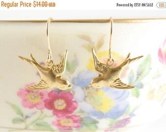 25% OFF SALE Tiny Gold Bird Earrings, Golden Swallow Earrings, Dangle Bird Earrings, Wedding Jewelry, Feather Earrings