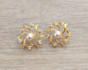 Rhinestone Flower Earring, Ear Jacket, Pearl Earring, Gold Earring, Pearl Studs